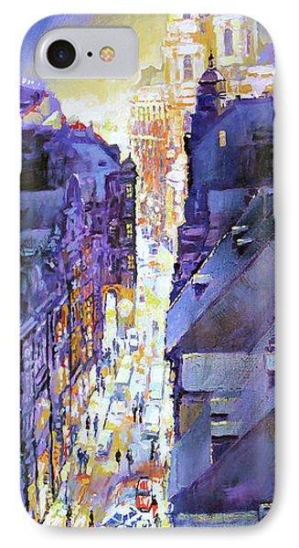 Praha Mostecka Str. Winter Evening IPhone Case by Yuriy Shevchuk