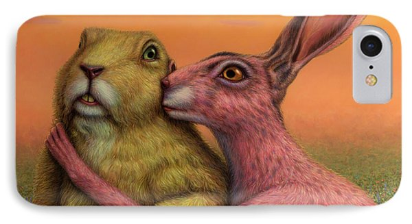 Prairie Dog And Rabbit Couple IPhone Case by James W Johnson
