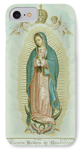 Prayer Card Depicting Our Lady Of Guadalupe IPhone Case by French School