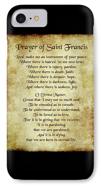 Prayer Of St Francis - Antique Parchment IPhone Case by Ginny Gaura