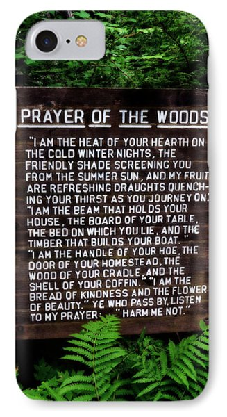 Prayer Of The Woods Phone Case by Michelle Calkins