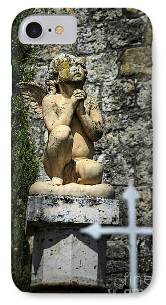 Praying Angel In Auvillar Cemetery IPhone Case by RicardMN Photography