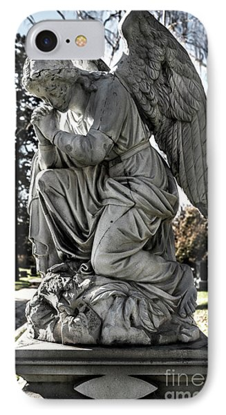 IPhone Case featuring the photograph Praying Cemetery Angel  by Gary Whitton