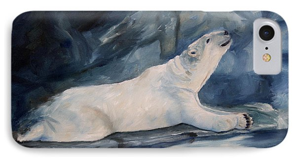 IPhone Case featuring the painting Praying Polar Bear Original Oil Painting by Brenda Thour