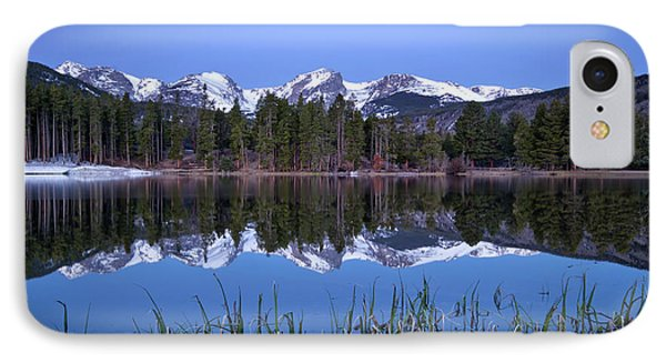 Pre Dawn Image Of The Continental Divide And A Sprague Lake Refl IPhone Case by Ronda Kimbrow