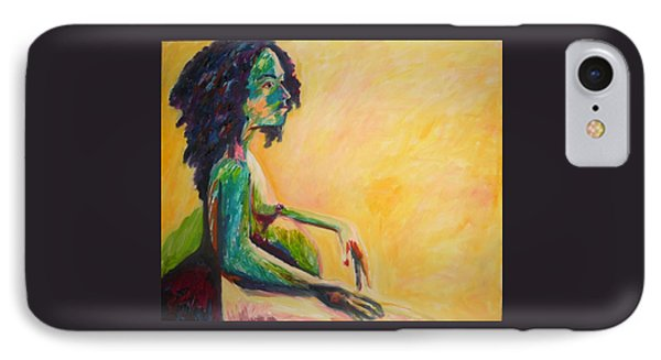 IPhone Case featuring the painting Pregnant Woman In Yellow by Esther Newman-Cohen