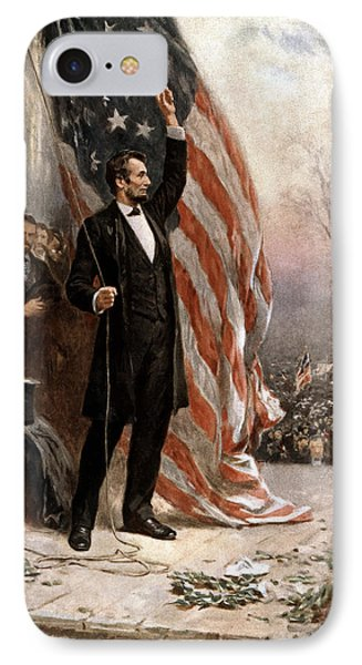 President Abraham Lincoln Giving A Speech IPhone Case by War Is Hell Store