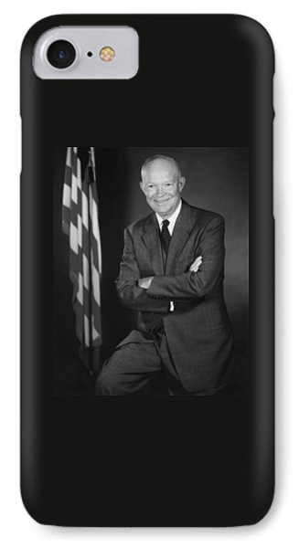 President Eisenhower And The U.s. Flag IPhone Case by War Is Hell Store