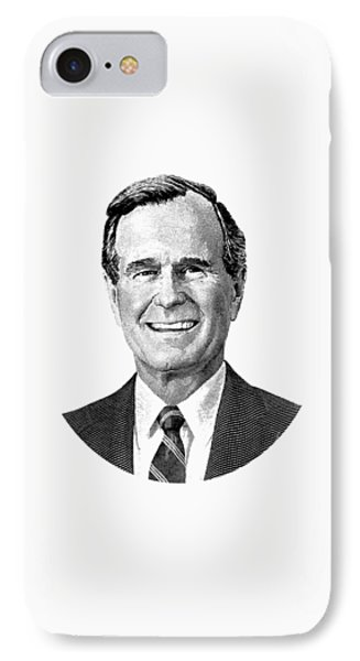 President George H. W. Bush Graphic Black And White IPhone 7 Case by War Is Hell Store