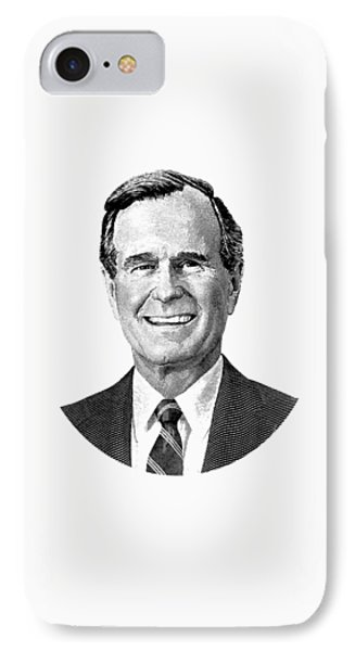 President George H. W. Bush Graphic Black And White IPhone Case by War Is Hell Store