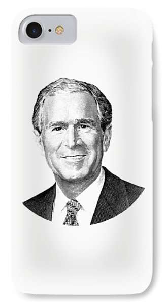 President George W. Bush Graphic - Black And White IPhone 7 Case by War Is Hell Store