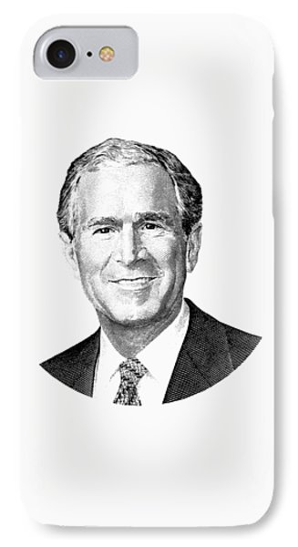 President George W. Bush Graphic - Black And White IPhone Case by War Is Hell Store