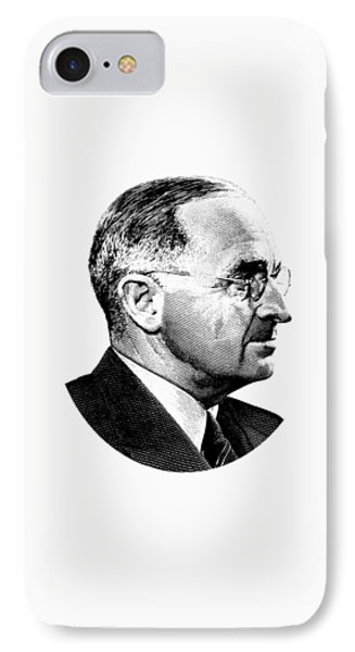 President Harry Truman Profile Portrait - Black And White IPhone Case by War Is Hell Store