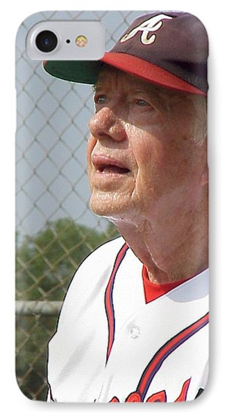 IPhone Case featuring the photograph President Jimmy Carter - Atlanta Braves Jersey And Cap by Jerry Battle