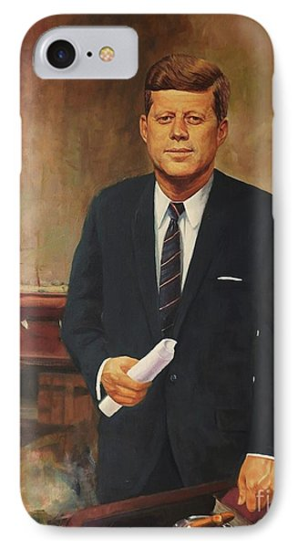 IPhone Case featuring the painting President John F. Kennedy by Noe Peralez