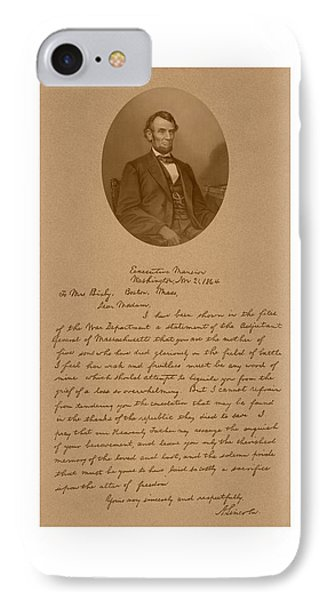President Lincoln's Letter To Mrs. Bixby IPhone 7 Case by War Is Hell Store