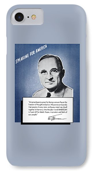 President Truman Speaking For America IPhone Case by War Is Hell Store