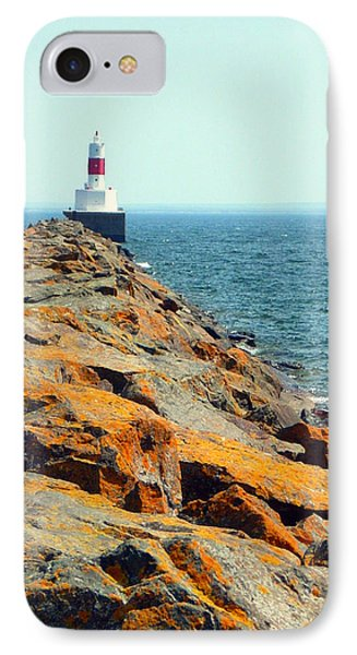 IPhone Case featuring the photograph Presque Isle Lighthouse In Marquette Mi by Mark J Seefeldt