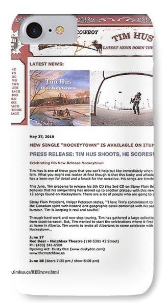 Press Release Carole Spandau Paints Cover Art For Hockeytown Cd By Tim Hus Phone Case by Carole Spandau