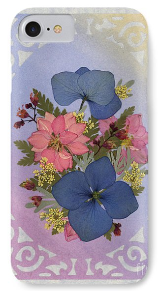 Pressed Flowers Arrangement With Pink Larkspur And Hydrangea IPhone Case