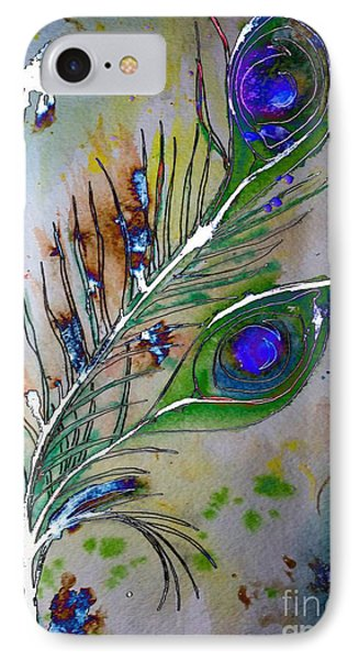 IPhone Case featuring the painting Pretty As A Peacock by Denise Tomasura