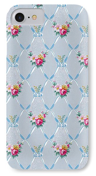 IPhone Case featuring the digital art Pretty Blue Ribbons Rose Floral Vintage Wallpaper by Tracie Kaska