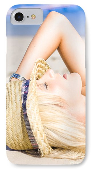 Pretty Female At Beach IPhone Case by Jorgo Photography - Wall Art Gallery