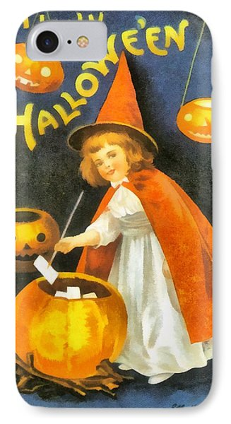 Pretty Little Witch In Red IPhone Case by Ellon Clapsaddle