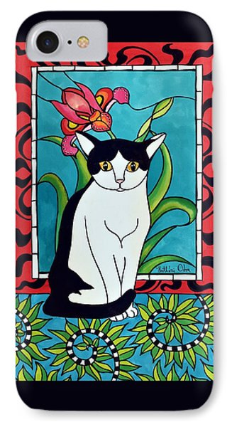 IPhone Case featuring the painting Pretty Me In Tuxedo by Dora Hathazi Mendes