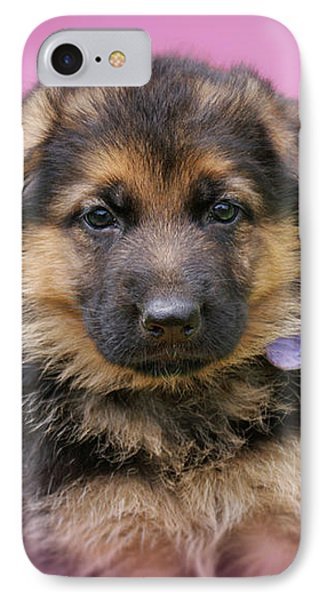 Pretty Puppy In Pink IPhone Case by Sandy Keeton