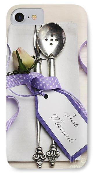Pretty Purple Polka Dot Wedding Table Place Setting IPhone Case