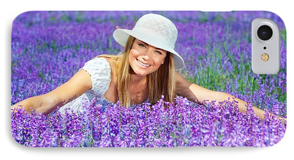 Pretty Woman On Lavender Field Phone Case by Anna Om