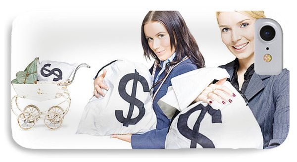 Pretty Young Business Women Holding Sacks Of Money IPhone Case
