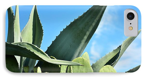 IPhone Case featuring the photograph Prickly Pear Cactus And Century Plant by Ray Shrewsberry