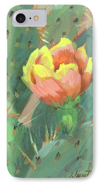 IPhone Case featuring the painting Prickly Pear Cactus Bloom by Diane McClary