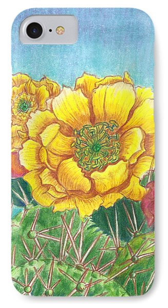 Prickly Pear Cactus Flowering IPhone Case by Dawn Senior-Trask