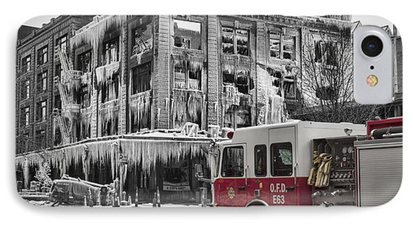 Pride, Commitment, And Service -after The Fire IPhone Case by Jeff Swanson