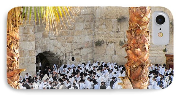 IPhone Case featuring the photograph Prayer Of Shaharit At The Kotel During Sukkot Festival by Yoel Koskas