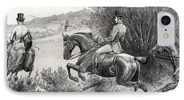 Prince Albert Hunting Near Belvoir Castle  IPhone Case by English School
