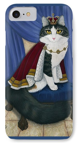 IPhone Case featuring the painting Prince Anakin The Two Legged Cat - Regal Royal Cat by Carrie Hawks