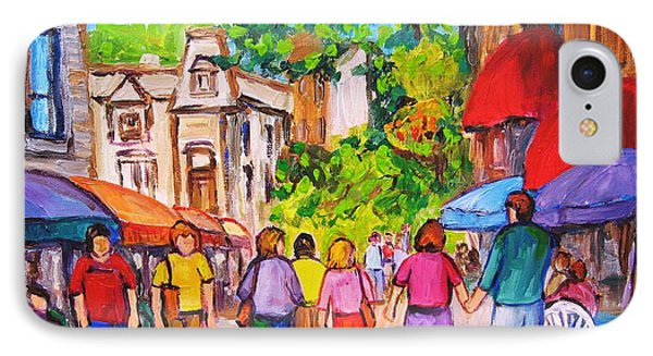 IPhone Case featuring the painting Prince Arthur Street Montreal by Carole Spandau