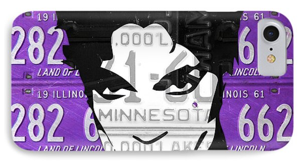 Prince Musician Portrait Made From Vintage Recycled Minnesota And Purple License Plates IPhone Case by Design Turnpike