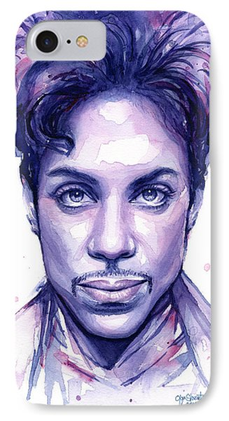 Prince Purple Watercolor IPhone 7 Case by Olga Shvartsur