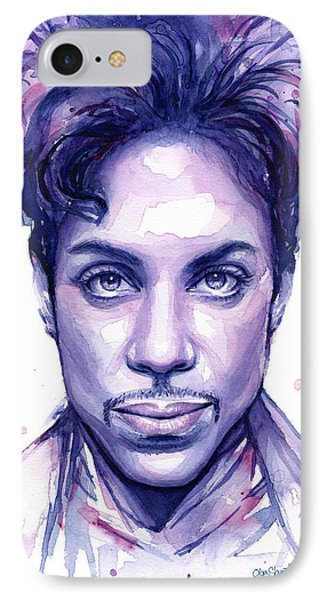 Musicians iPhone 7 Case - Prince Purple Watercolor by Olga Shvartsur