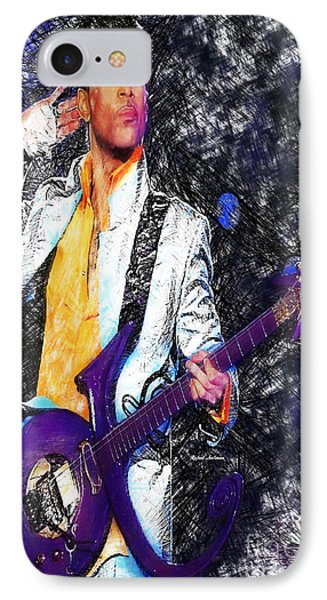 Prince - Tribute With Guitar IPhone Case by Rafael Salazar