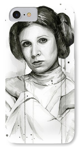 Princess Leia Portrait Carrie Fisher Art IPhone Case by Olga Shvartsur