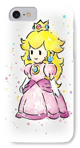 Princess Peach Watercolor IPhone 7 Case