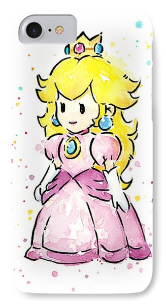 Princess Peach Watercolor IPhone Case