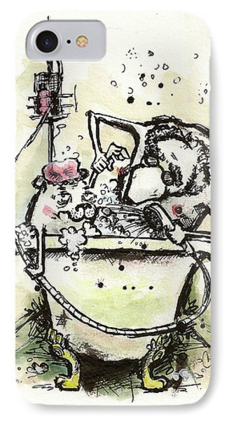 Princess The Alpha Male In A Dog, A Butler, And A Bathtub IPhone Case by Connor Reed Crank