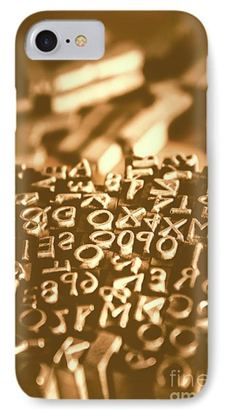 Print Industry Typographic Letters And Numbers IPhone Case by Jorgo Photography - Wall Art Gallery